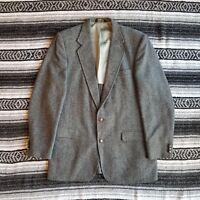 Vtg USA Haggar Sz 42 L 2 Button Wool Blend Sport Coat Blazer Gray Herringbone
