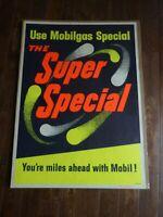 Rare Vintage 4' x 3' Mobilgas Heavy Paper Poster. Super Special~NOS NEW 1950-60s