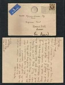 Great Britain to Aden 1950 1 Shilling Airmail Postal Used Cover with Letter