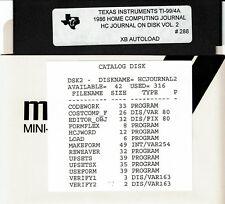 VTG COMPUTER MAGAZINE 1986 HOME COMPUTING JOURNAL VOL 2 PROGRAMS DISK TI-99/4A