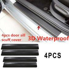 4Pcs 3D Carbon Fiber Car Door Plate Sill Scuff Cover Panel Anti-Scratch Sticker