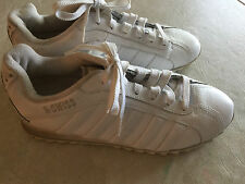 ladies K-SWISS SNEAKERS shoes PLAIN SOLID WHITE lace CLEAN classic SIZE 10 M