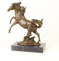 9937352-dss Grande Bronzo Scultura Figura Bäumendes Cavallo 35x29cm