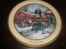 "Christmas Tin---Coming Home---10"" Diameter---3"" High---Empty"