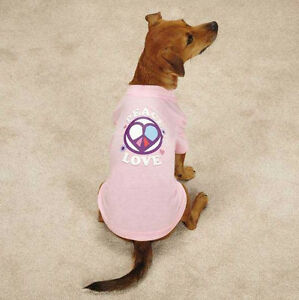 Casual Canine Peace and Love Dog Top Tee T-Shirt Pet Tees Pink Peace Sign