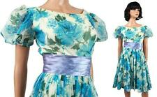 50s Prom Dress XS Vintage Off White Blue Floral Chiffon Satin Party Gown Flared