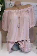 BLOUSE TUNIQUE DENTELLE AU CROCHET mauve-rose HIPPIE chemise douce extra-large