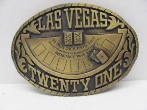 Las Vegas Twenty One Brass Belt Buckle