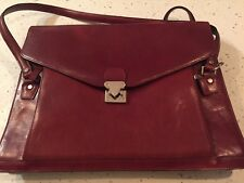 "Wilsons Leather ""Pelle Studio"" Burgandy Leather Laptop Bag Briefcase"