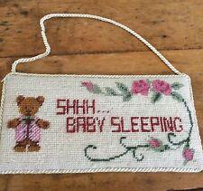 Baby Girl Wall Door Hanger Nursery Tapestry Hand Sewn 10x20cm