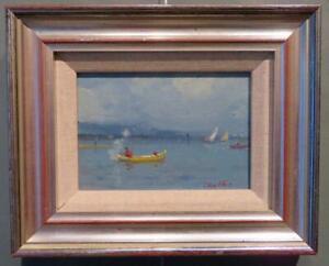 GEOFFREY CHATTEN RBA (1938-) EAST ANGLIAN oIl painting FISHING BREYDON WATER