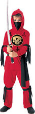 Boys RED NINJA Halloween Costume Shirt Pants Face Scarf Sash Childs Large 12 14