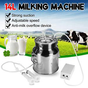 14L Electric Milking Machine Stainless Steel Vacuum Pump Milker Farm Cows