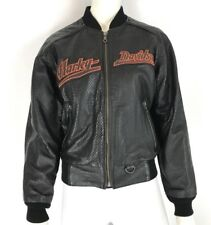 Harley Davidson Womens Perforated Leather Bomber Jacket Patches Black Size XS