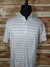 Peter Millar Golf Polo Size Large Pink and White Striped