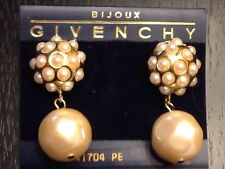 Givenchy Faux Baroque Pearl Drop Earrings Vintage & Unused, Still on Card