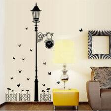 Removable Clock Street Lamp Post Butterfly Decal Sticker Wall Art DIY Mural