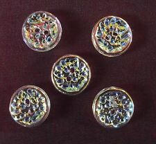 5 BOUTONS transparent & irisé * 16 mm 1,6 cm *  2 trous * Button sewing mercerie
