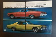 1968 Chevrolet Red Gold Chevelle Malibu car two page ad