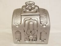 RARE Vintage McCoy Silver Treasure Chest Cookie Jar Pirate Trunk