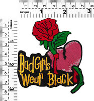 #470R Skull Skeleton Biker Lady Girl Goth Embroidered Sew Iron on Patch Badge