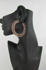 New Women Big Chunky Hoops Thick Bronze Copper Metal Chains Fashion Earrings 2""