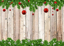 Rustic Wooden Boards Red Xmas Balls Decor Backdrop 7x5ft Vinyl Photo Background