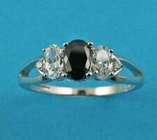 Cubic Zirconia Three-Stone Sterling Silver Fine Rings