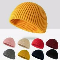 Men Knitted Hat Beanie Skullcap Sailor Cap Cuff Brimless Retro Navy Fashion Warm