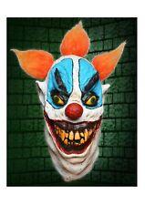 Horror Clown Latex Full Head Mask Halloween Fancy Dress With Orange Hair