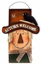 Autumn Welcome Wooden Scarecrow Plaque