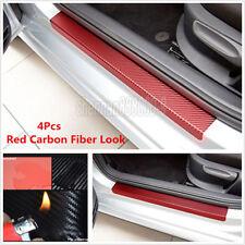 4x Red 3D Carbon Fiber Look Car Door Plate Sill Scuff Cover Anti-Scratch Sticker