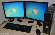 """Dell PC Core Quad 500 GB de disco duro 8GB Ram Wifi Windows 7. pantalla dual 2x19"""" Dell TFT"""
