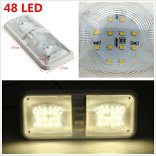 2x 12V RV Fixture Ceiling Trailer Marine Double Dome Light 48 LEDs Natural White