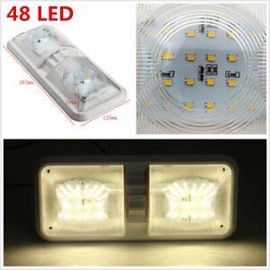 2x 12V RV Fixture Ceiling Trailer Marine Double Dome Light 48 LEDs Natural White
