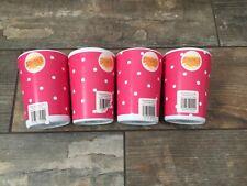 Summer essentials Dark Pink Polka Dot Spot  Melamine Picnic 4 Beakers Tumblers