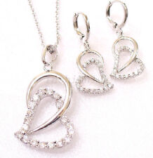 CZ Cubic White Gold Plated Twin Love Charm Hoop Dangle Earrings Necklace Set