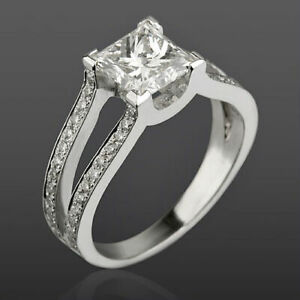 1.75 CT VVS REAL PRINCESS CUT ACCENTS DIAMOND 14K WHITE GOLD PROMISE LADIES RING
