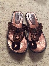 88489236d441 Girls Kenneth Cole Reaction Beaded Flip Flops-Color- Bronze Size 4M -EUC