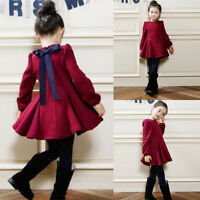 Kids Baby Girls Winter Dress Long Sleeve Bow Tie Party Skater Dress Pageant 7T Z