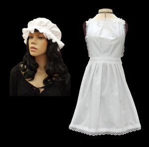 Full Length Apron + Mop Cap Adult Ladies Victorian Edwardian Serving Maid