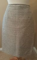 Calvin Klein Women's Boucle Skirt Sz 6 Pencil Career Lined Black White metallic