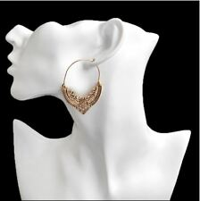 Earrings Hoops Gold Antique Rings African Ethnic Boho Tribal Afghan Indian Retro