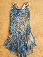 Blue and White Swirl Figure Skating Dress - Ladies Xs/Small/Child Xl