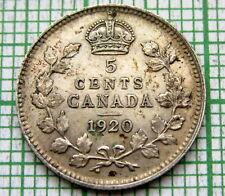 CANADA GEORGE V 1920 5 CENTS, SILVER PATINA HIGH GRADE