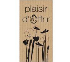 """50 Etiquettes autocollantes cadeaux """"Plaisir d'offrir"""" kraft charme brun"""