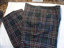 VINTAGE CORBIN MENS 38 x 30 WOOL SCOTTISH TARTAN PLAID FLAT FRONT GOLF PANTS