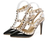 Stud Faux Leather Caged Strap Pumps High Heels Sandals Shoes Size 38-43