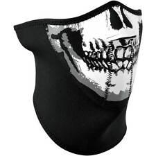 Zan Headgear Skull 3-Panel Half Face & Neck Neoprene Motorcycle Riding Mask