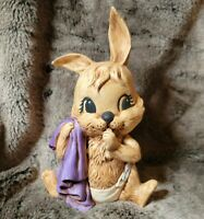 VTG Ceramic Easter Bunny Sucking Thimb Blanket Diaper Brown Purple nursery kids